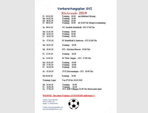 Rückrundenvorbereitungsplan unserer Aktiven Mannschaften